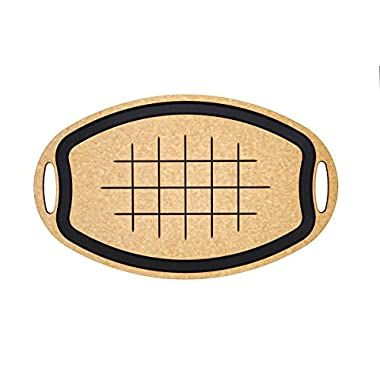 Epicurean Carving Series Oval Cutting Board, 23.5-Inch by 15.25-Inch, Natural/Slate