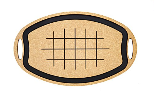 Wide Oval Composite Bamboo - Epicurean Carving Series Oval Cutting Board, 23.5-Inch by 15.25-Inch, Natural/Slate