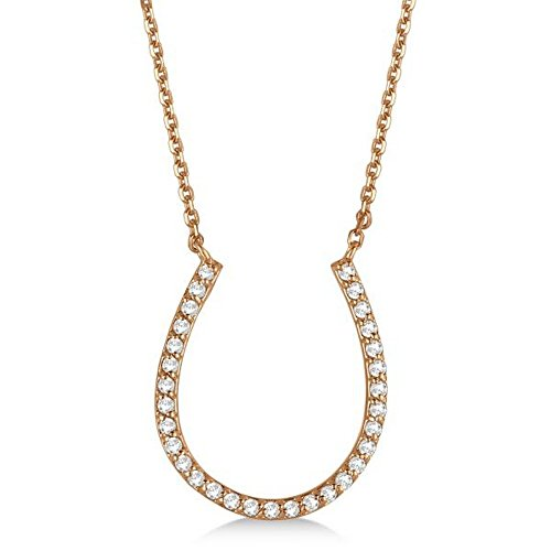 Ladies Pave Set Dazzling Round Diamond Horseshoe Pendant Necklace in 14k Rose Gold (0.25 Ct Dazzling Diamond)