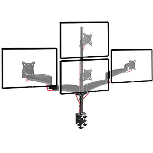 - Duronic DM453VX1 Solid Quad Four LCD LED Desk Mount Arm Monitor Stand Bracket with Tilt and Swivel (Tilt -90°/+45°   Swivel 180°   Rotate 360°   Up to 27