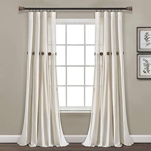 Lush Decor Linen Button Window Curtain Single Panel