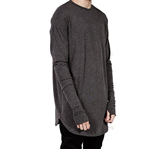 Teamoluna Mens Thumb Hole Cuffs Long Sleeve T-shirt Basic Tee (US,XL/Asia,2XL) (Aynsley Henley)
