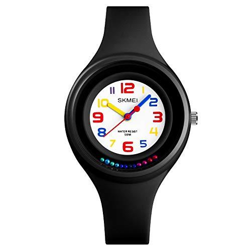 RELOJES PARA NIÑOS Relojes para niños Niños Niños Chicas Deportes Analógico Digital Impermeable LED Luz Negro