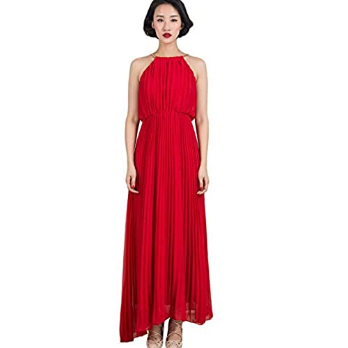 Persun Womens Open Shoulder Cut Out Back Pleated Chiffon Sleeveless Maxi Dress Red Large