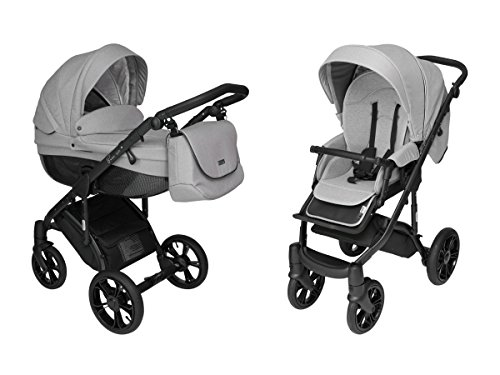 ROAN BASS Stroller with Bassinet and Reversible Seat 2-in-1 (Steely Gray)