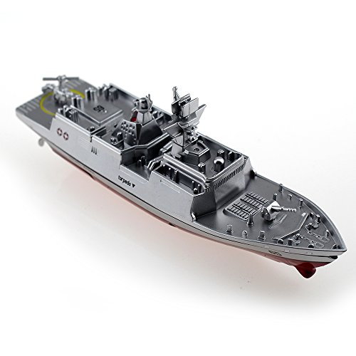 Tipmant Military RC Naval Ship Vessel Model Remote Control Boat Speedboat Yacht Electric Water Kids Toy - Silver