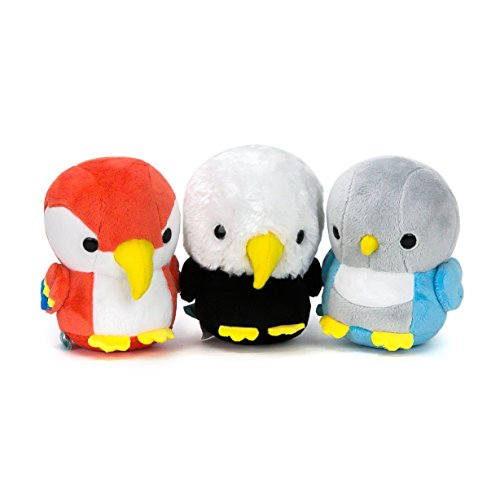 Bellzi Baby Stuffed Animal Plush Toy Set - Adorable Bird Plushie Toys and Gifts! - Includes Bald Eagle Plush , Baby Parrot Plush, and Bird Plush Animal - Baldi, Parri, and Lovi ()