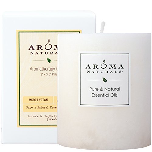 Aroma Naturals Patchouli and Frankincense Essential Oil White Scented Pillar Candle, Meditation, 3 inch x 3.5 inch