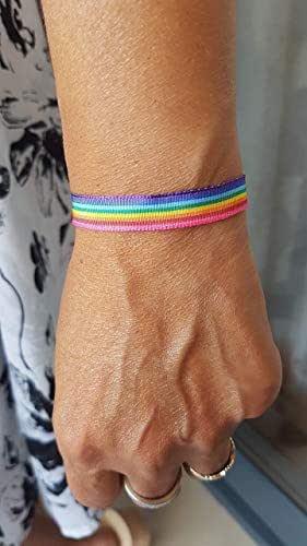 PULSERA Bandera ORGULLO GAY Seda con Entrepieza Labrada: Amazon.es: Handmade