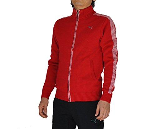 PUMA(プーマ) ゴルフ ニットジップジャケット メンズ タンゴレッド×シルバー 923147-02 Lサイズ