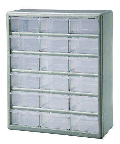 Stack On DSMG 18 18 Bin Plastic Drawer Parts Storage Organizer Cabinet,  Metallic