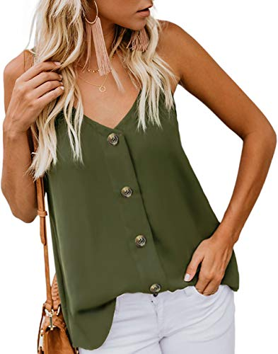 AnniBlue Women V Neck Summer Tank Tops Flowy Cute Casual Trendy Sleeveless Blouses Shirts for Ladies Juniors Army Green