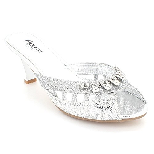 Crystal Womens Kitten Sandals Slip Prom Wedding Bridal Silver Evening Size On Heel Party Shoes LONDON Diamante Ladies AARZ fxtBpt