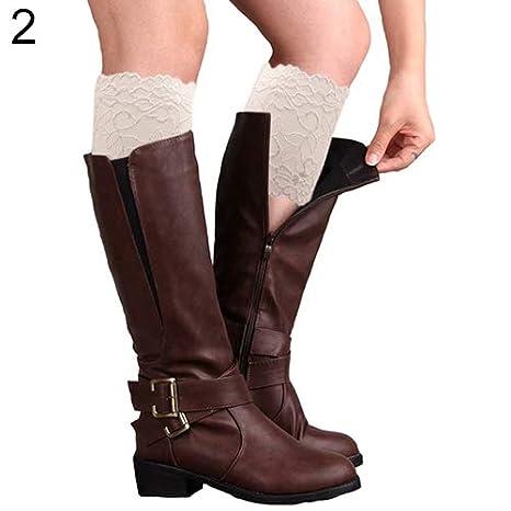 KaariFirefly Fashion Damen M/ädchen Stretch Blumen Spitze Trim Stiefel Manschetten Beinstulpen Top Socken