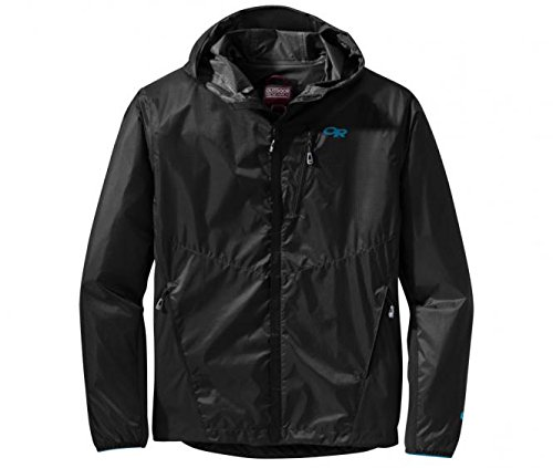 Mens Lightweight Hybrid Jacket - Outdoor Research Helium Hybrid Hooded Jacket - Men's Black Large