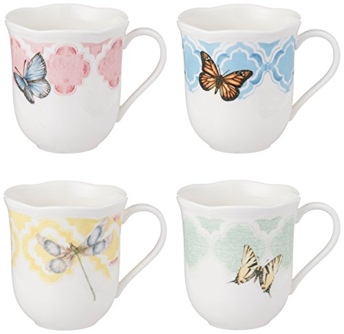 Meadow Coffee Butterfly - Lenox Butterfly Meadow Trellis Dessert Mug, (Set of 4), White