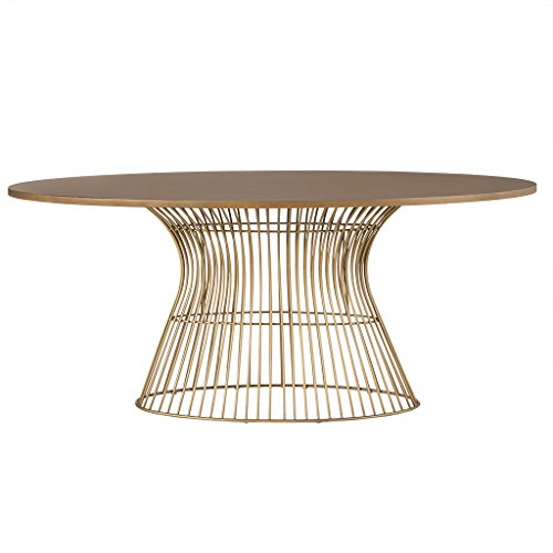Golden Bronze Frames Set - INK+IVY IIF20-0062 Mercer Dining Oval Solid Wood Tabletop, Metal Wire Frame Base Mid-Century Modern Style Dinner Tables, 70