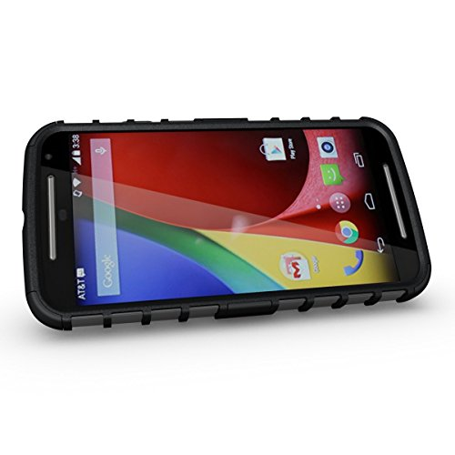 Moto G2 Case, iThrough Stand Function Dual-layer TPU & Plastic Protection Cover Carrying Case for Motorola Moto G2 (Black)
