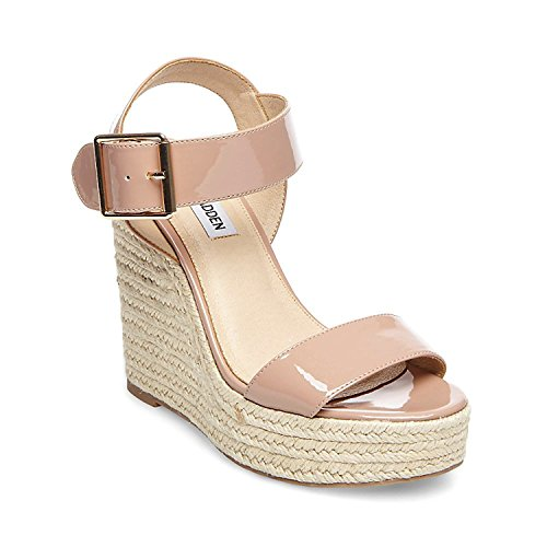 Steve Madden Women's Santorini Espadrille Wedge Sandal Dark Blush Patent 9.5 M US M