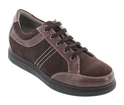 Calto J98022-2.6 Inches Högre - Höjd Ökar Hiss Skor - Kaffe Brun Spets-up Sneakers