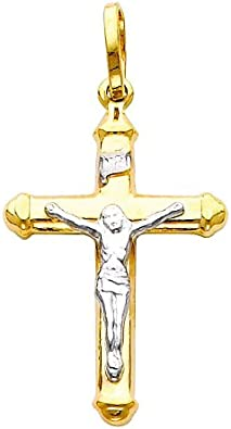 14k Two Tone Gold Jesus Cross Religious Pendant with 0.8mm Braided Square Wheat Chain Necklace