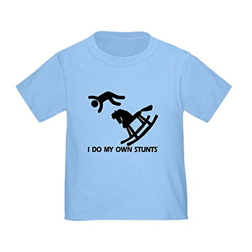 CafePress Rocking Horse, My Own Stunts Toddler T-Shir Cute Toddler T-Shirt, 100% Cotton Baby Blue