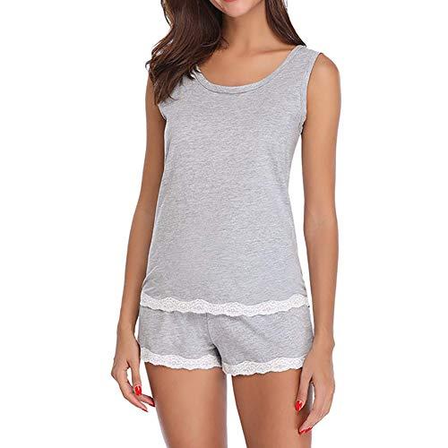 notte donna in pigiama maniche notte di iodvfs rifiniture colore con da Biancheria pizzo senza solido Grey per da fFwgnpaPxq