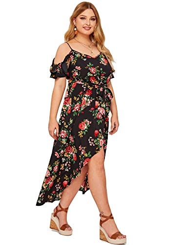 Milumia Women Plus Size Cold Shoulder Maxi Floral Dress Belted Summer Black 4X