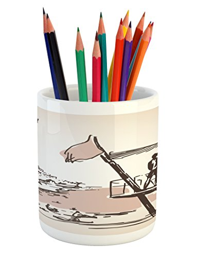 Lunarable Ibiza Pencil Pen Holder, Sketch Lifeguard Watching over the Beach Exotic Holiday South Spain Islands, Printed Ceramic Pencil Pen Holder for Desk Office Accessory, Brown and Warm Taupe by Lunarable