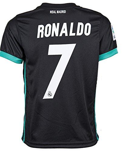 7 Ronaldo Real Madrid Third Kid Soccer Jersey   Matching Shorts Set 2016 17 Black Youth M  8 To 10 Years Old