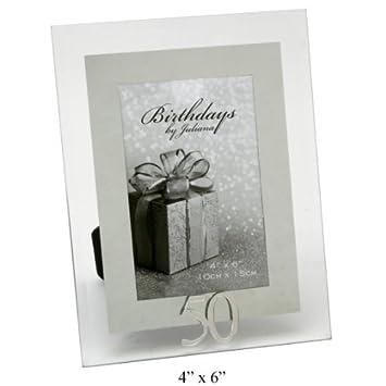 Amazon.com: 50 th Mirror Birthday Photo Frame 4 x 6 by juliana ...