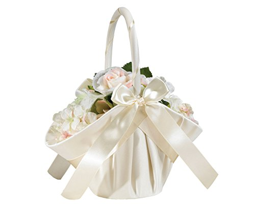 Lillian Rose Elegant Large Satin Flower Girl Basket Ivory ()