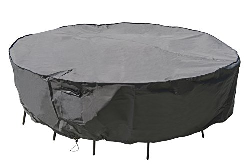 M&H Heavy Duty Waterproof Large Patio Set Cover - Outdoor Furniture Cover with Padded Handles and Durable Hem Cord - Weather Resistant, Fits Large Round Table with Chairs, 96 inch Diameter, Taupe (Outdoor 60 Chairs Dining & Set Cover Furniture 6 Table Inch)