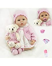 ZIYIUI 22 tum 55 cm pånyttfödd bebis nyfödda dockor flickor, verklighetstrogna småbarn dockor förtjusande presenter leksak