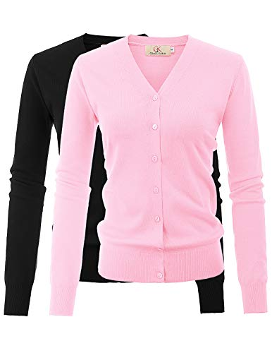 GRACE KARIN Long Sleeve Button Down Crew Neck Knit Cardigan Sweater for Women (L,2 Pack Black Pink)