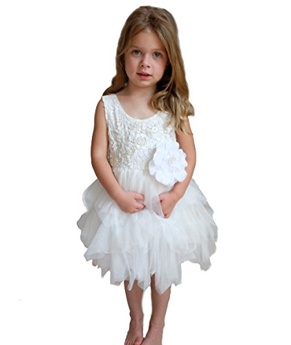 Flower Girl Dress - Lace with Pink or White Chiffon Tulle Tutu (12 Month, (Communion Pop)