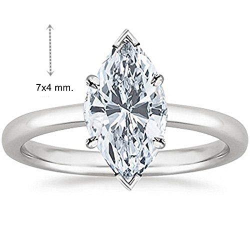Gia Certified 0.40 Carat Natural Marquise Diamond 14K White Gold