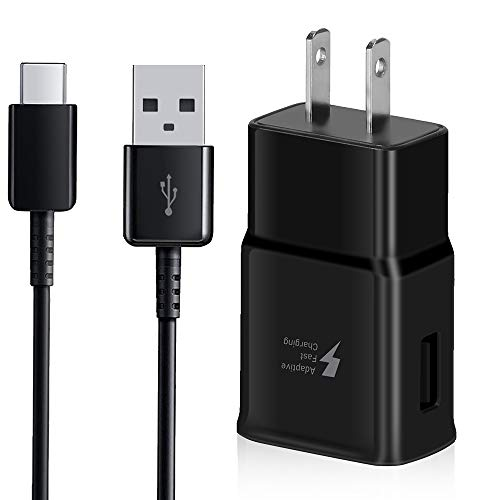 Adaptive Fast Charger Kit with USB Type C to A Cable Cord Compatible Samsung Galaxy S10 / S9 / S9+ / S8 / S8 Plus/Active/Note 8 / Note 9 and - Samsung Wall Charger