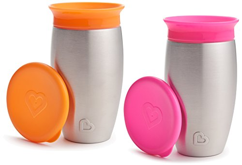 Munchkin 2 Pack Miracle 360 No Spill Sippy Cup, 10 Ounce, Orange/Pink