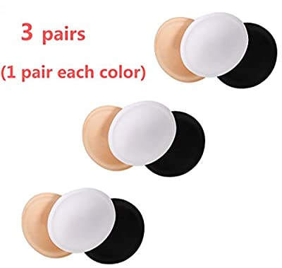 Womens Sport Bra Inserts Pads 3 Pairs In Set White Nude Black Dia. 4.9 inch