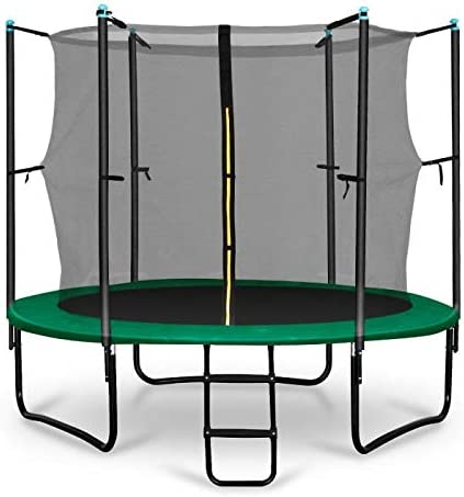 Klarfit Rocketstart 250 Cama elástica trampolin con Red de Seguridad (Superficie Base 250 cm diametro, sujecion 3 Patas Doble, Varillas de sujecion Acolchadas, Lona Resistente a los Rayos UV, Protect