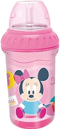 Vaso Entrenamiento con Pajita 330ml de Silicona Minnie Baby Rosa Colour Overlap