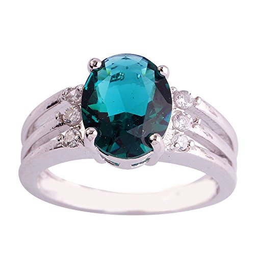 Narica Women's Elegant 10mmx8mm 7 PCS Oval Cut Sapphire Quartz Ring