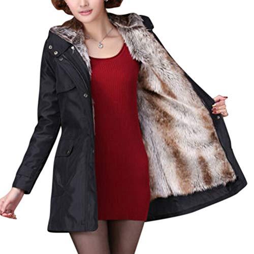 Unie Femme Black Épaisse Chaud D'hiver Manteau Lanlan Épais La Xxxl Pour Parka Mode Beige À Outwear Capuche fHpRwB