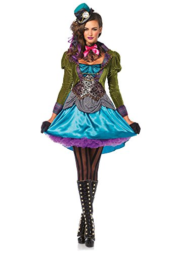 Leg Avenue Women's 3  Piece Deluxe Mad Hatter Costume, Multi, Medium (Sexy Mad Hatter Costumes)