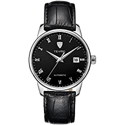 TEVISE Men's Fashion Dress Automatic Watch Thin Black Dial Black Genuine Leather Band
