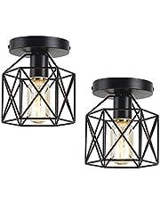 Semi Flush Mount Ceiling Light, Industrial Metal Cage Ceiling Light Fixtures, Farmhouse Kitchen Light Fixtures for Hallway, Porch, E26, 2 Pack