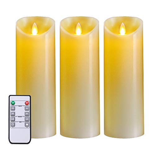 5PLOTS Real Wax Flameless Candles (H9xD3) - Amber Yellow Flickering LED Candles - Battery Operated with Remote and Timer - Moving Wick Dancing Flame - Set of 3