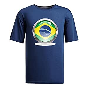 Custom Mens Cotton Short Sleeve Round Neck T-shirt, Printed with World Cup Images navy