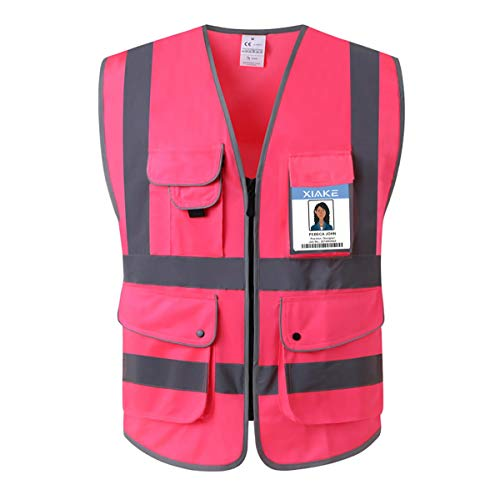 XIAKE Class 2 Reflective Safety Vest with 9 Pockets and Front Zipper High Visibility Safety Vests,ANSI/ISEA Standards(Small,Pink) (Pink Womens Safety Vest)